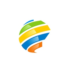 globe abstract technology colorful logo vector image vector image