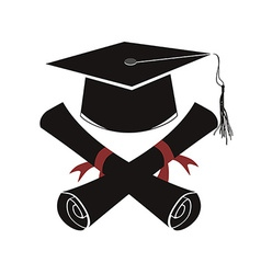 isolated black graduation cap and diploma vector image