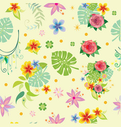seamless pattern with decorative plants vector image vector image
