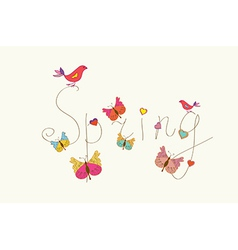 Spring word banner with butterflies vector image