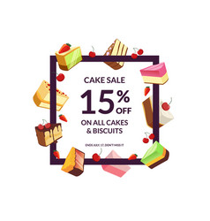frame with place for text and cartoon cake vector image vector image