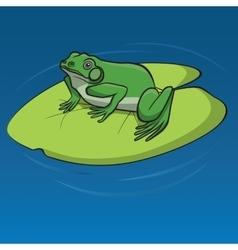 Frog sitting on the leaf vector image
