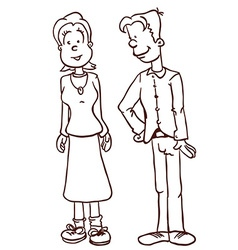 simple black and white mom and dad vector image vector image