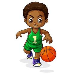 A young Black boy playing basketball vector image vector image