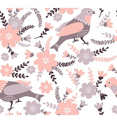 Cute cartoon birds and flowers in Stylish floral vector image vector image
