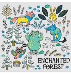 Hand drawn set with cartoon animals vector image vector image