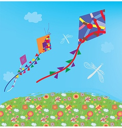 Kites in the sky vector image vector image