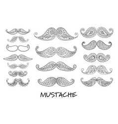 mustache collection ornate sketch for your design vector image