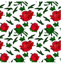 red peony flowers and green leaves seamless vector image