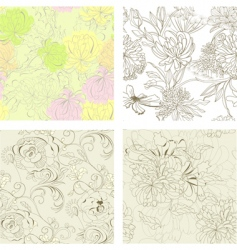 set of seamless wallpaper vector image vector image