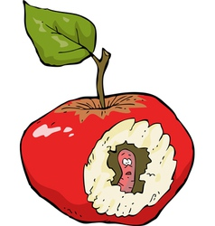 worm eaten apple vector image vector image