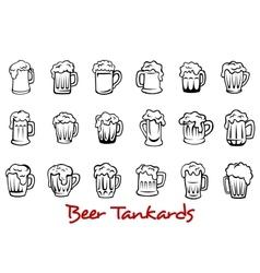 Beer tankards set vector