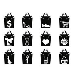 black shopping bag icons set vector image