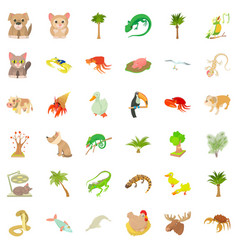 different animal icons set cartoon style vector image vector image