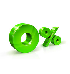 green zero percent or 0 isolated on white vector image vector image