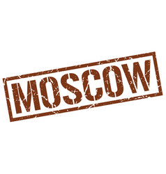 moscow brown square stamp vector image vector image