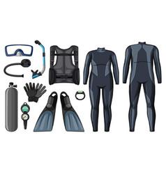 scuba diving equipment in black color vector image