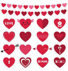 Valentines Day decoration and hearts set vector image