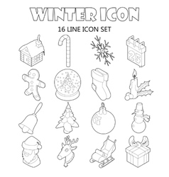 Winter icons set outline style vector image