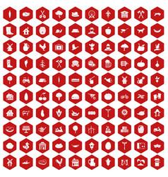 100 farm icons hexagon red vector