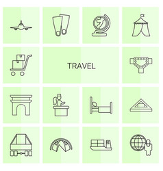 14 travel icons vector