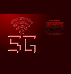 5g high speed web connection symbol polygonal red vector