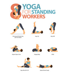 8 yoga poses for standing worker vector