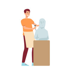 A young male brown haired sculptor in an apron vector