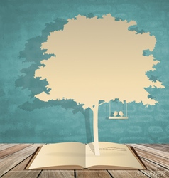 Abstract tree background with book and tree vector image