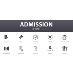 Admission simple concept icons set contains vector