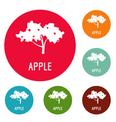 apple tree icons circle set vector image