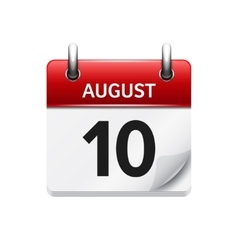 August 10 flat daily calendar icon Date vector