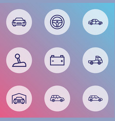 auto icons line style set with garage battery vector image