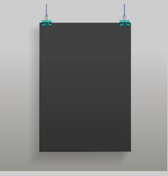 black hanging poster mock up in realistic style vector image