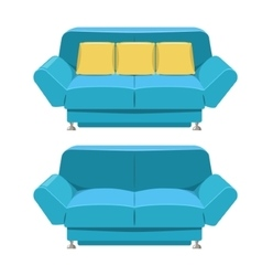 Blue sofa couch design Front view vector