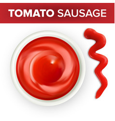 bowl of ketchup or tomato sauce with splash vector image