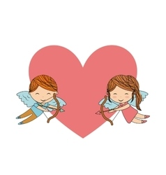 Boy and girl angel icon Love design vector image