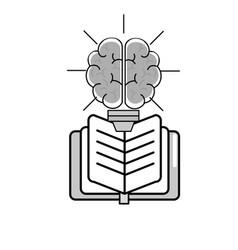 Brain bulb and book design vector