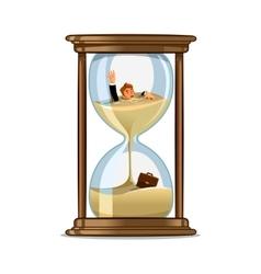 Businessman in hourglass Deadline concept design vector image