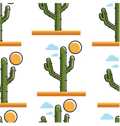cactus in dessert under sun seamless pattern plant vector image