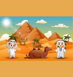 Caravans are herding camels in the desert vector