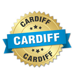 Cardiff round golden badge with blue ribbon vector