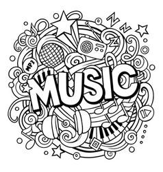 cartoon cute doodles music word vector image