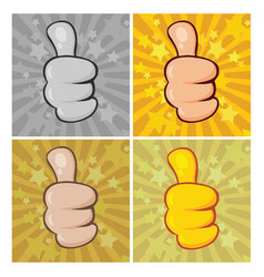 cartoon hand giving thumbs up gesture collection vector image