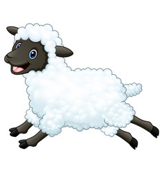 cartoon happy sheep jumping isolated on white back vector image