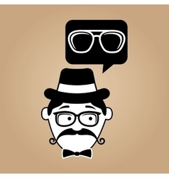 cartoon hipster sunglasses icon vector image