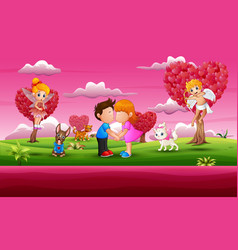 cartoon little boy and girl kissing in beautiful p vector image