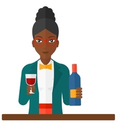 Cheerful woman with bottle and glass vector image