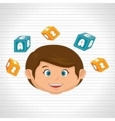 child boy cartoon cubes alphabet letters vector image