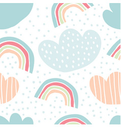 childish seamless pattern rainbows drops clouds vector image